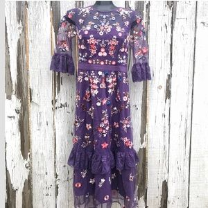 Women's Boho Purple Embroidered Floral Sheer Overl